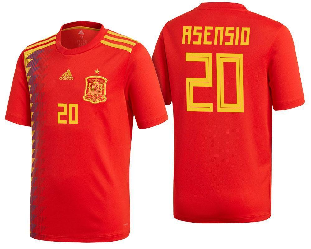 new product f4eed aaadc Men #20 Asensio Jersey Home Spain National 2018 FIFA World Cup