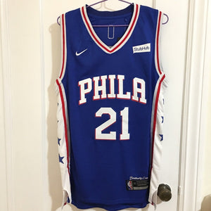 competitive price ac3d6 31a71 Men 21 Joel Embiid Jersey Blue Philadelphia 76ers Authentic Jersey Player