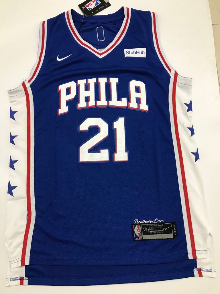 competitive price ca6fc 63f84 Men 21 Joel Embiid Jersey Blue Philadelphia 76ers Authentic Jersey Player