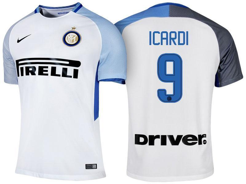 huge selection of b6a08 d374a Men 9 Mauro Icardi Jersey Away Soccer Inter Milan FC Jersey 2018 Serie A
