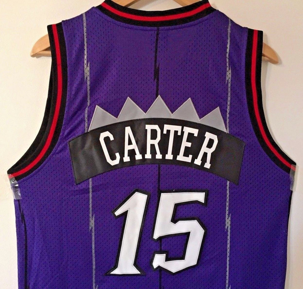 1cd283e2217 ... Men 15 Vince Carter Jersey Purple Toronto Raptors Throwback Swingman ...