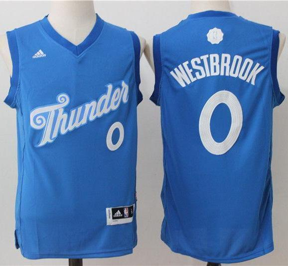 sneakers for cheap b8088 75faa Men 0 Russell Westbrook Jersey Christmas Blue Oklahoma City Thunder