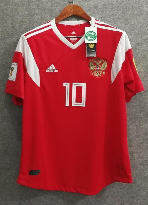 newest 9fc89 52269 2018 Men Russia Jersey Home Stadium Soccer Jersey World Cup Jersey Fanatics