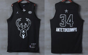 0b78faa73 Men 2018 All Star 34 Giannis Antetokounmpo Bucks Jersey Black Player version