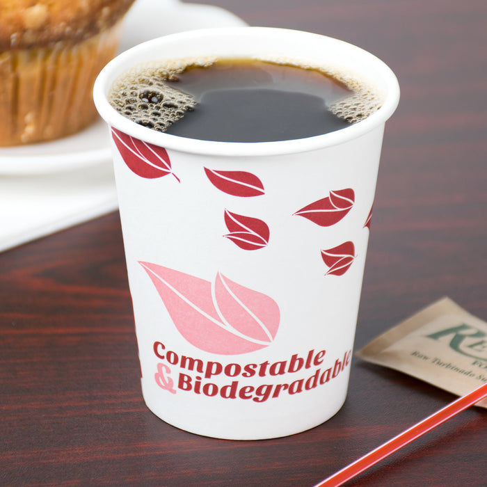 Vaso de Papel Biodegradable con Estampado de Hojas