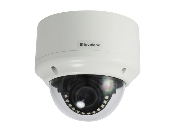 FCS-3305 Fixed Dome IP Network Camera, H.265/264, 5MP, 802.3af PoE, IR LEDs, Indoor/Outdoor, 2.8X Optical Zoom