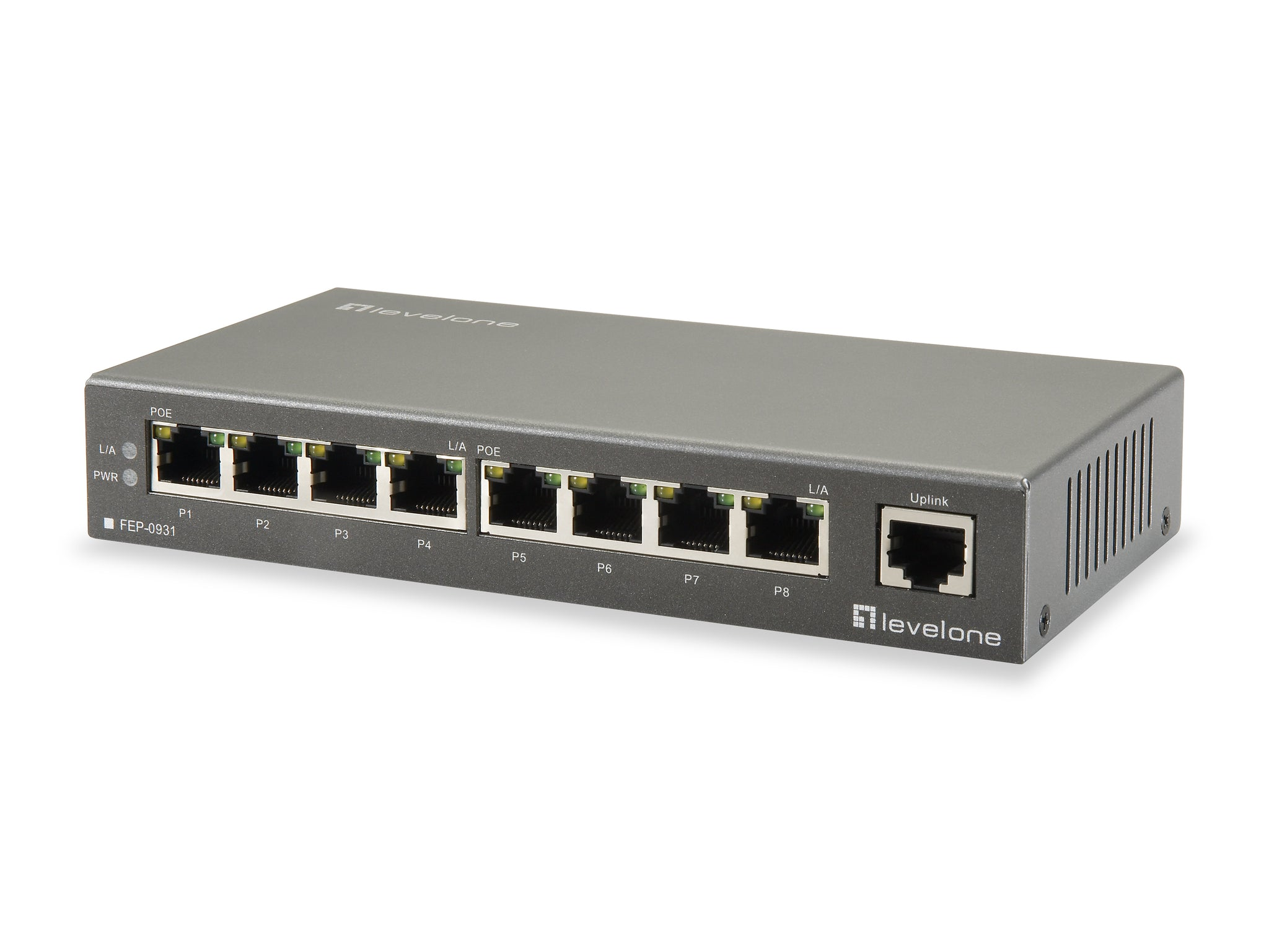 FEP-0931 9-Port Fast Ethernet PoE Switch, 250m, 802.3at/af PoE, 120W, 8 PoE Outputs