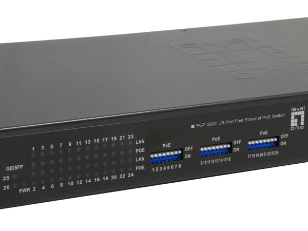 FGP-2602 26-Port PoE Switch, 802.3af/at PoE, 2 x Gigabit SFP
