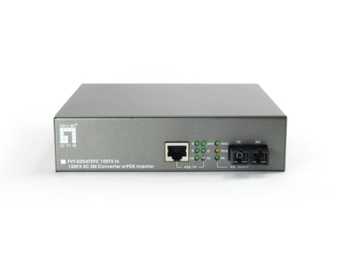 FVT-0204TXFC RJ45 to SC Fast Ethernet Media Converter, 1 PoE Output, 802.3af PoE, Single-Mode Fiber, 20km