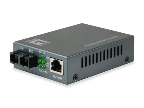 FVT-1102 RJ45 to SC Fast Ethernet Media Converter, Single-Mode Fiber, 1310nm, 20km