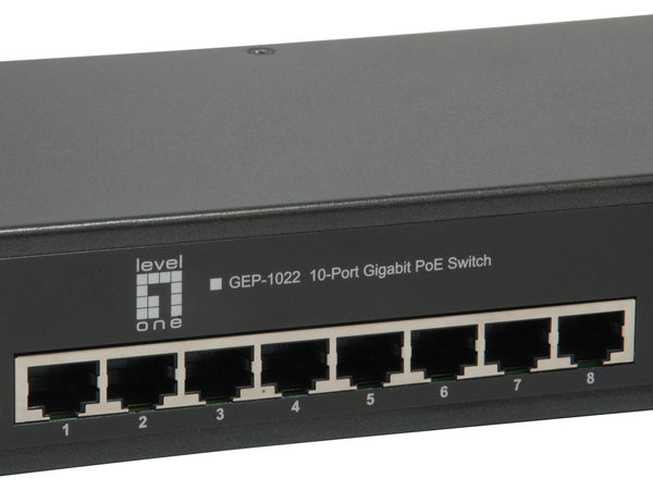 GEP-1022 10-Port Gigabit PoE Switch, 8 PoE Outputs, 2 x SFP, Internal Power Supply