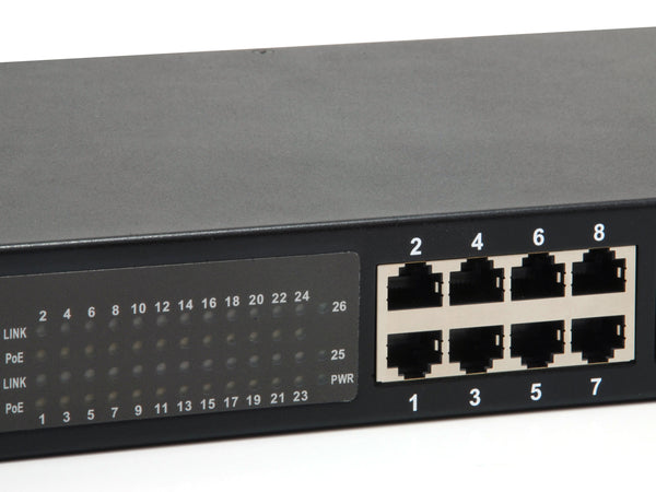 GEP-2622 26-Port Gigabit PoE Switch, 2 x SFP, 24 PoE Outputs, 802.3af/at