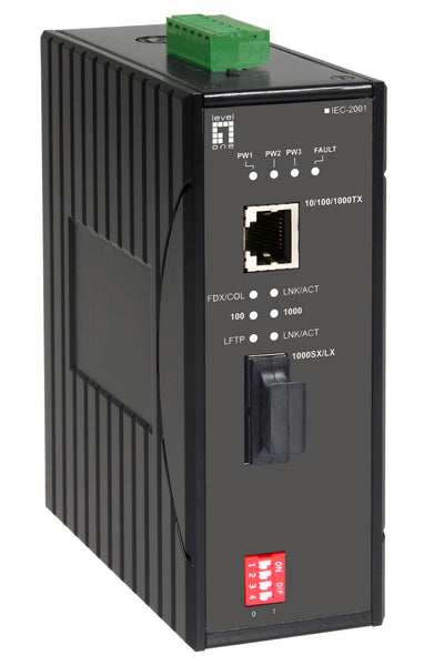 IEC-2001 RJ45 to SC Gigabit Industrial Media Converter, Multi-Mode Fiber, 550m, -40°C to 75°C