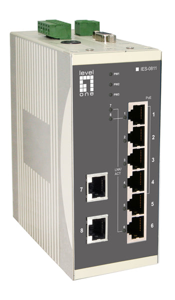 IES-0811 8-Port PoE Industrial Switch, 802.3af PoE, 4 PoE Outputs, DIN-Rail, 61.6W, -20°C to 70°C