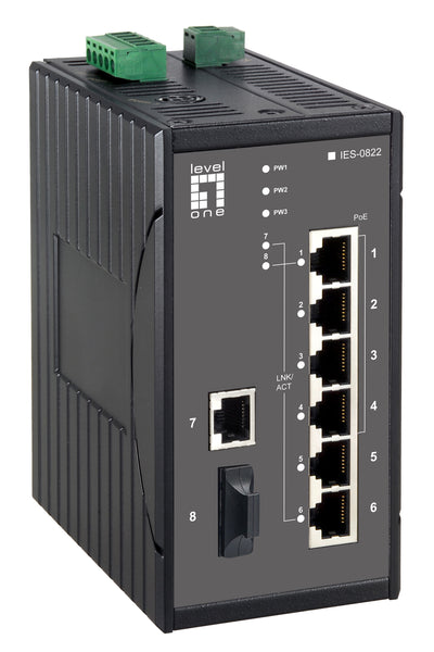 IES-0822 8-Port Fast Ethernet PoE Industrial Switch, 802.3af PoE, 61.6W, -40°C to 85°C