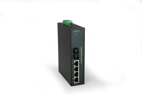 IFS-0502 5-Port Fast Ethernet Industrial Switch, 1 x SC Multi-Mode Fiber, 2km, -40°C to 75°C
