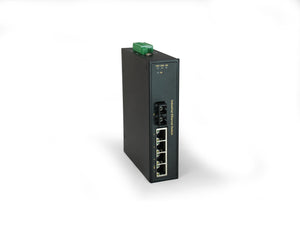IFS-0503 5-Port Fast Ethernet Industrial Switch, 1 x SC Single-Mode Fiber, 30km, -40°C to 75°C