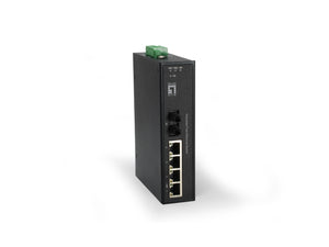 IFS-0504 5-Port Fast Ethernet Industrial Switch, 1 x ST Multi-Mode Fiber, 2km, -40°C to 75°C