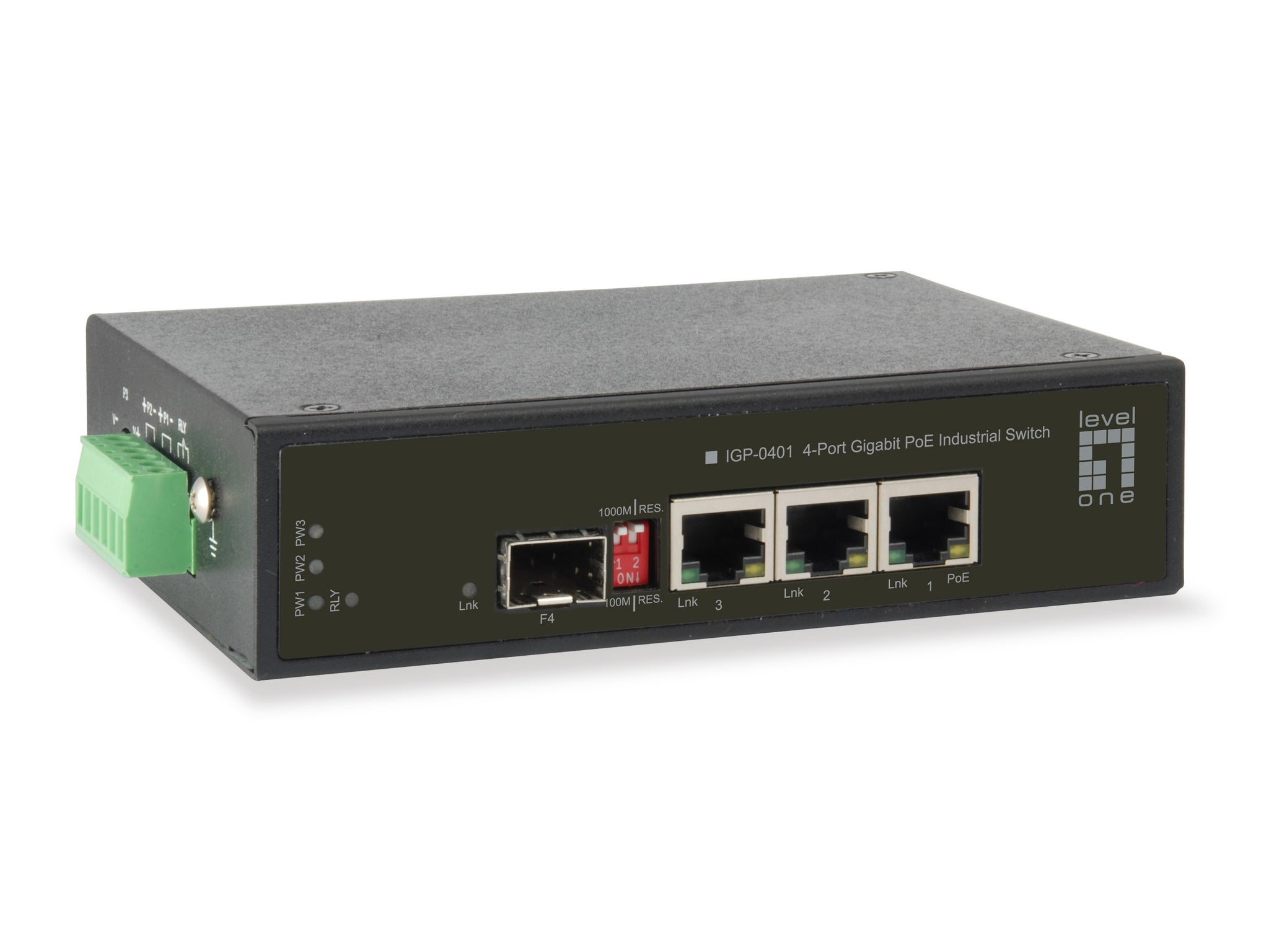 IGP-0401 4-Port Gigabit PoE Industrial Switch, 2 PoE Outputs, 1 x Gigabit SFP, 1 x Gigabit RJ45, 65W