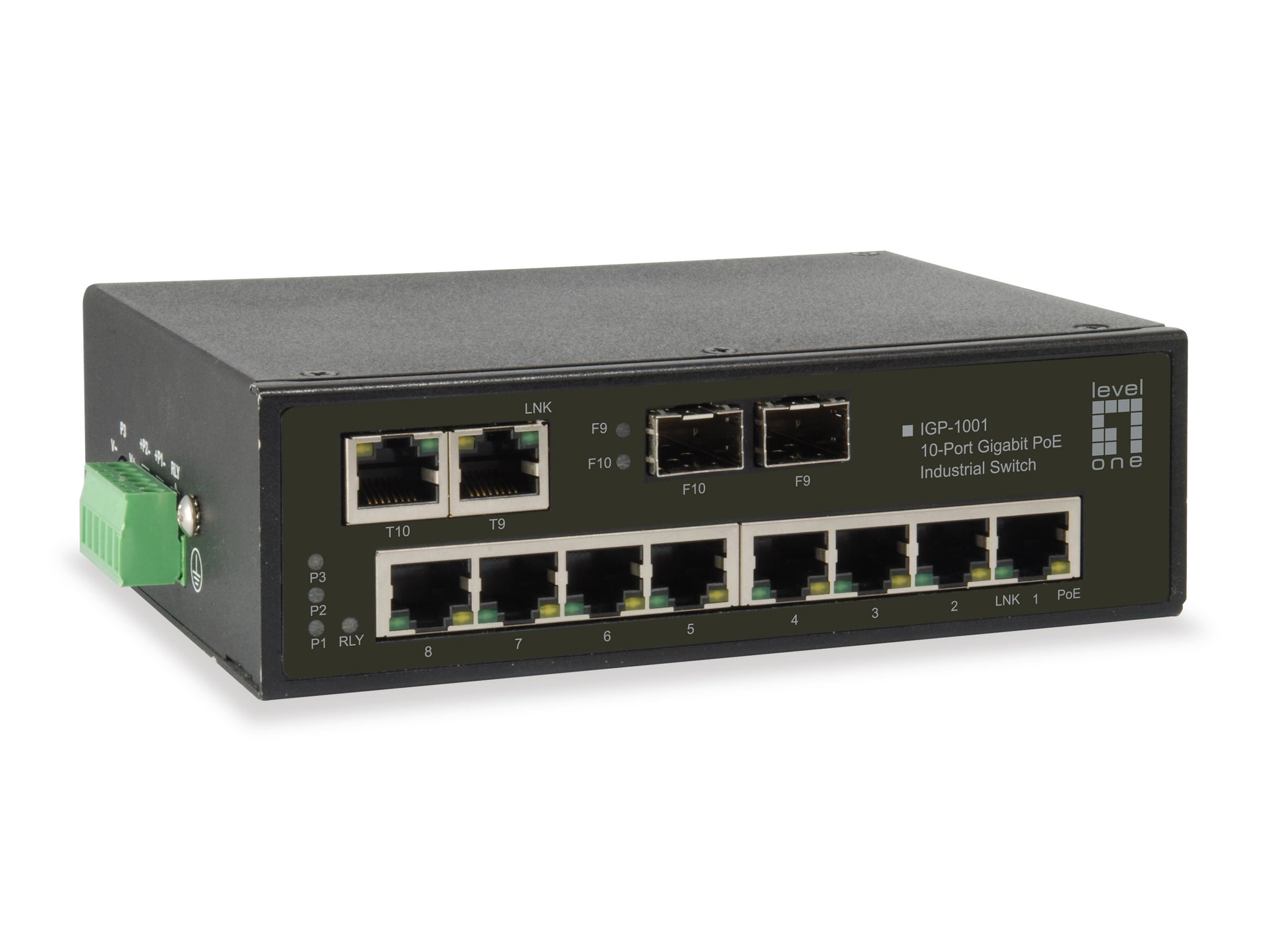 IGP-1001 10-Port Gigabit PoE Industrial Switch, 8 PoE Outputs, 2 x Gigabit SFP/RJ45 Combo