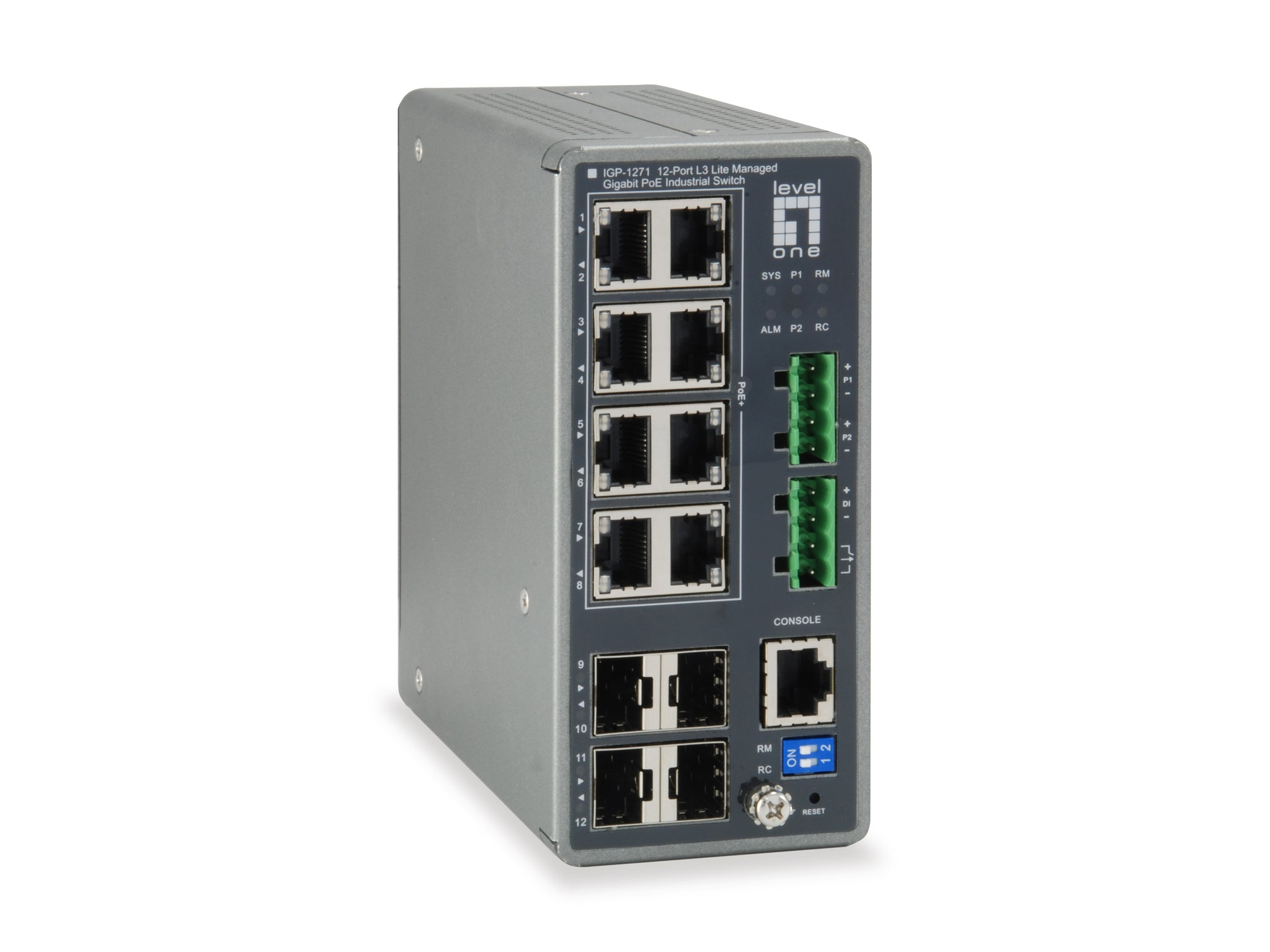 IGP-1271 TURING 12-Port L3 Lite Managed Gigabit Industrial Switch, 8 PoE Outputs, 240W, 802.3at/af PoE, 4 x SFP, -40°C to 75°C