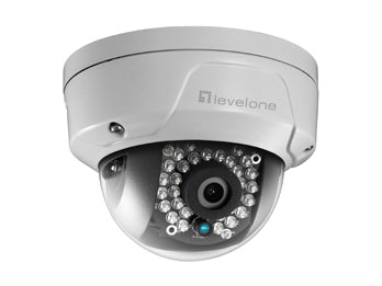 FCS-3090 GEMINI Fixed Dome IP Network Camera, H.265, 5-Megapixel, 802.3af PoE, Vandalproof, IR LEDs, two-way audio, Indoor/Outdoor
