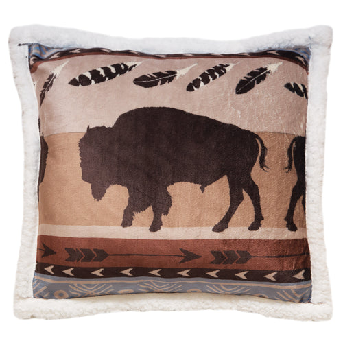 Wrangler Buffalo Southwestern Sherpa Fleece Throw Pillow
