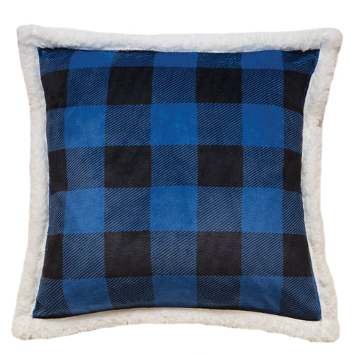 Wrangler Blue Lumberjack Buffalo Plaid Sherpa Fleece Throw Pillow