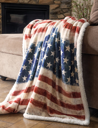 Wrangler Stars & Stripes USA American Flag Sherpa Fleece Throw Blanket