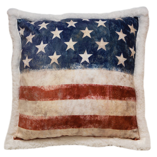 Wrangler Stars & Stripes USA American Flag Sherpa Fleece Throw Pillow