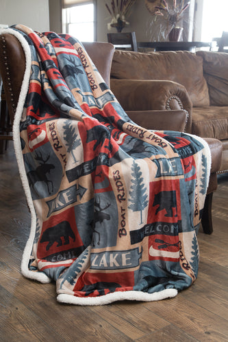 Lake House Sherpa Fleece Large Throw Blanket