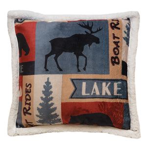 Lake House Plush Sherpa Fleece Throw Pillow