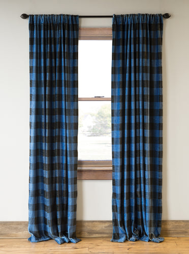 Wrangler Blue Lumberjack Buffalo Plaid Curtain Panels (Set of 2)
