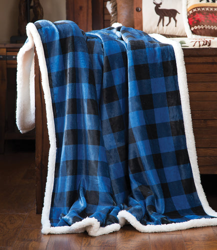 Wrangler Blue Lumberjack Buffalo Plaid Sherpa Fleece Throw Blanket