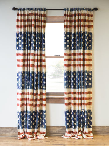 Wrangler Stars & Stripes USA American Flag Curtain Panels (Set of 2)