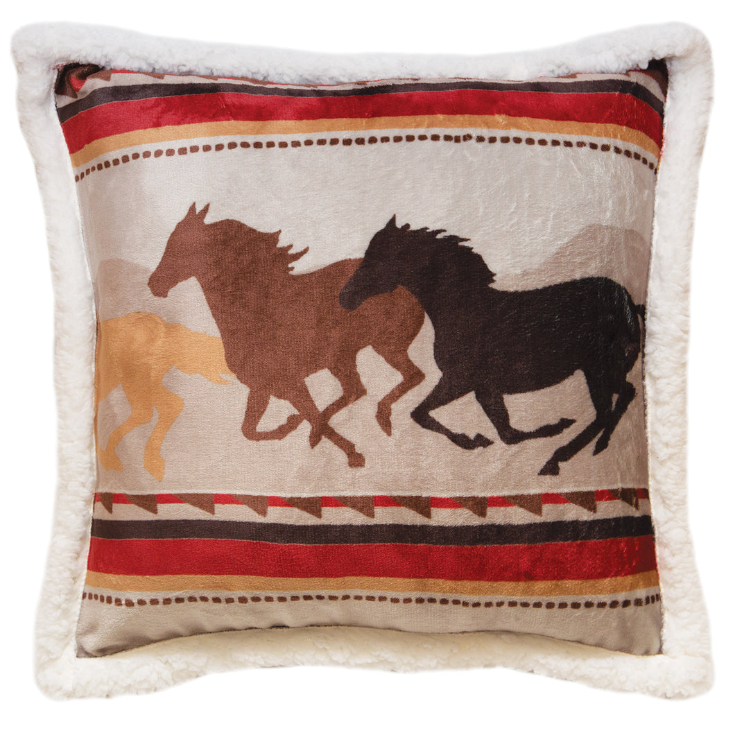 Wrangler Running Horse Sherpa Fleece Throw Pillow
