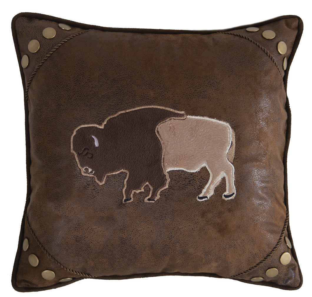 Wrangler Faux Leather Buffalo Throw Pillow