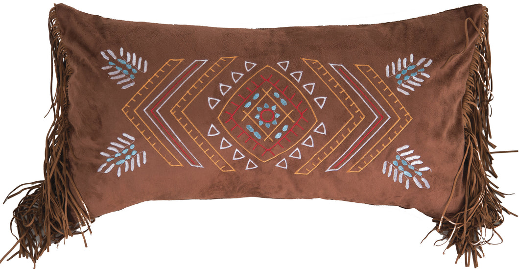 Wrangler Embroidered Southwestern Fringe Pillow