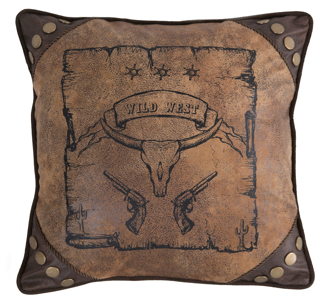 Wild West Country Faux Leather Throw Pillow