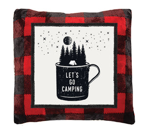 Red Buffalo Plaid Camping Throw Pillow
