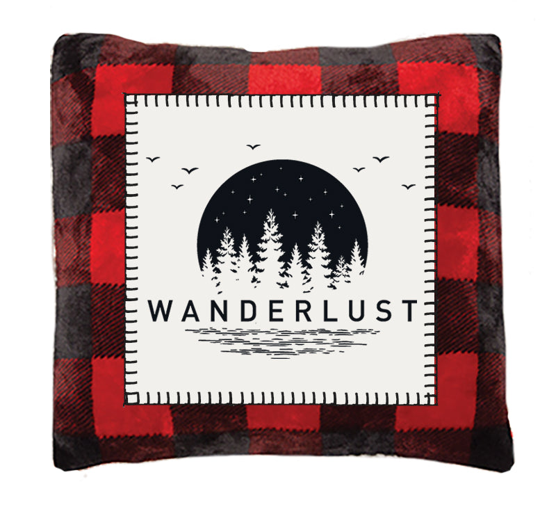 Red Buffalo Plaid Wanderlust Throw Pillow