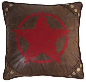 Wrangler Faux Leather Red Star Throw Pillow