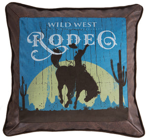 Wrangler Faux Leather Rodeo Throw Pillow