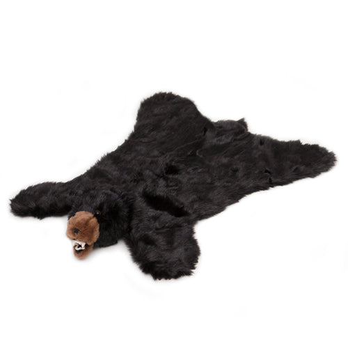 Black bear plush rug, large