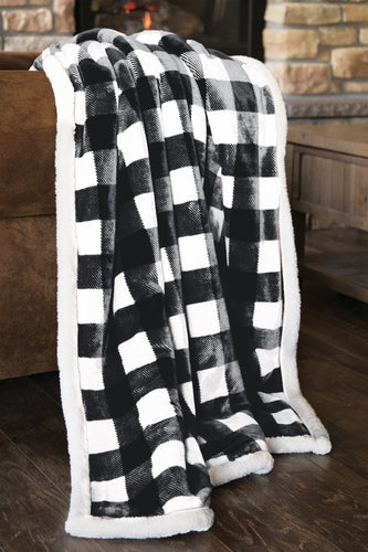 Black & White Lumberjack Plaid Sherpa Throw Blanket