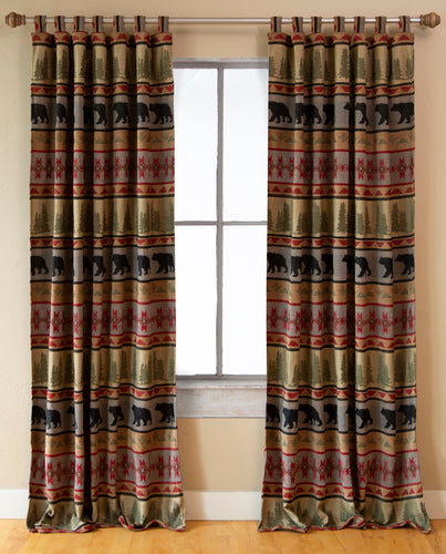Montana Bear Rustic Curtain Panels (Set of 2)