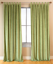 Load image into Gallery viewer, Light Green Shearling Curtain Panels (Set of 2)
