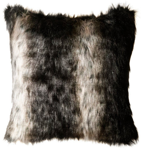 Black Wolf Fur Pillow