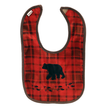 Load image into Gallery viewer, Red Plaid Bear Bib