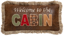 Load image into Gallery viewer, Welcome to the Cabin Faux Leather Throw Pillow
